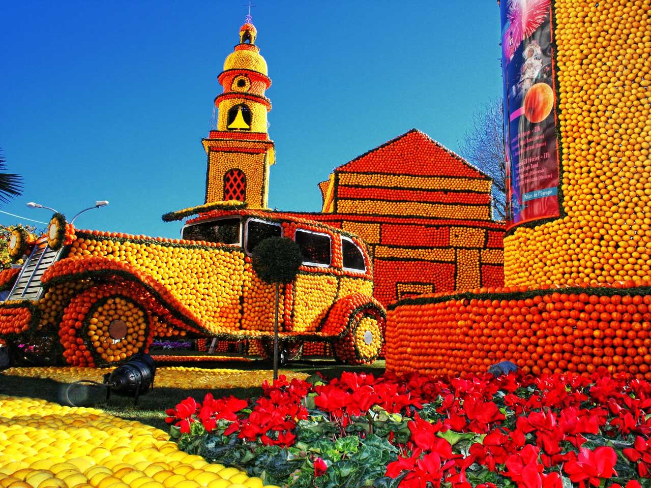 La Fiesta del Limón de menton en la que se hacen impresionantes construcciones con cítricos